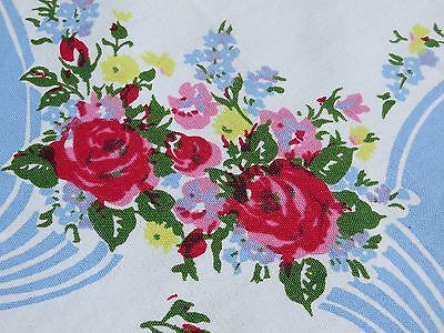 Vtg-Antique-Large-Tablecloth-Shabby-Pink-Rose-Bouquets-Blue-Ribbon-70X64-Floral