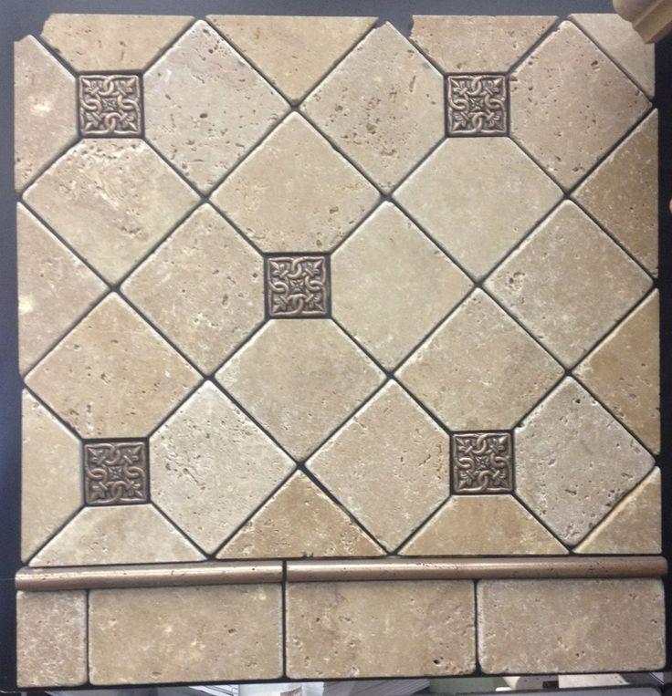Kitchen Backsplash Diagonal Pattern diagonal travertine with sparkle mosaic - google search