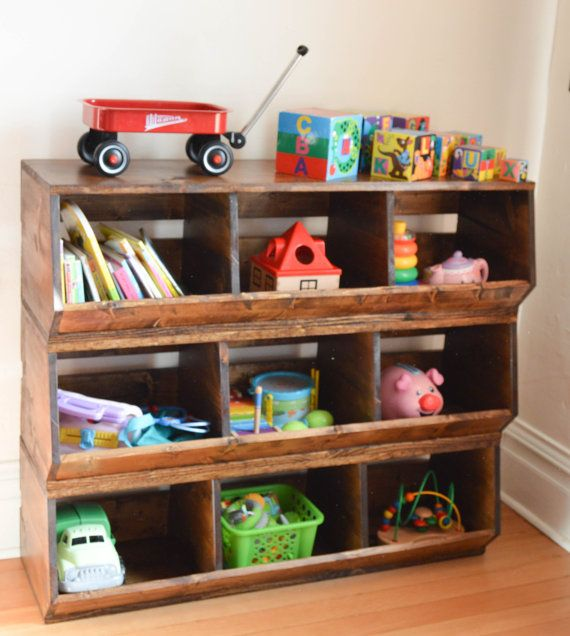 Custom Wood Toy Bin Storage Stackable Toy Box Kid Toy Storage Rustic Toys Farmhouse Toys