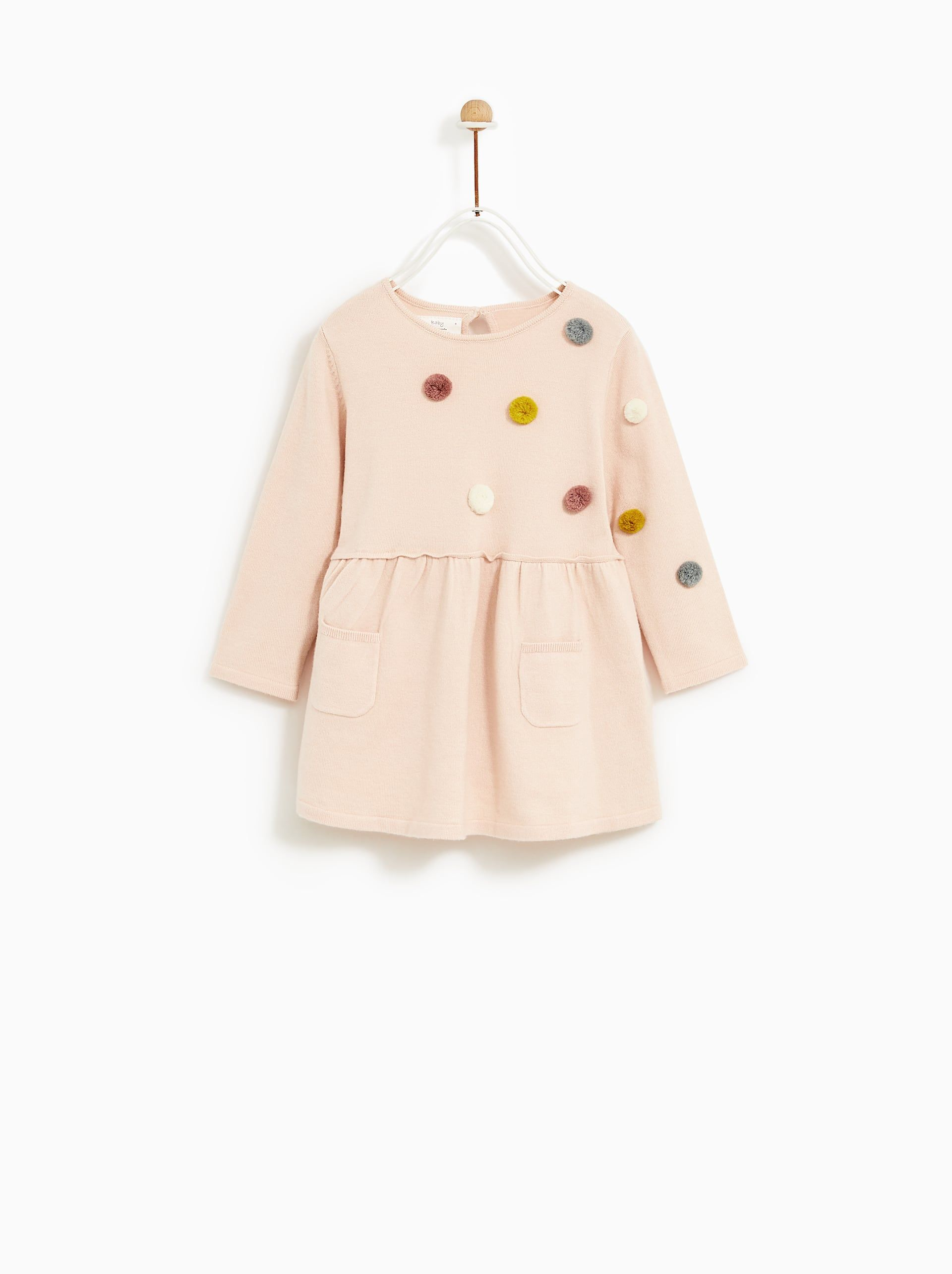 Multicolored Pompom Dress Toddler Designer Clothes Fall Baby Clothes Toddler Fashion