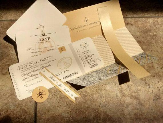 Assembly Of Wedding Invitations: Aviation, Airplane, Travel Themed Wedding Invitation