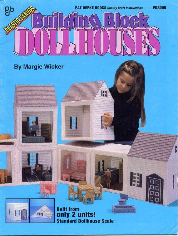 Building Block Dollhouses In Plastic Canvas Including Doll
