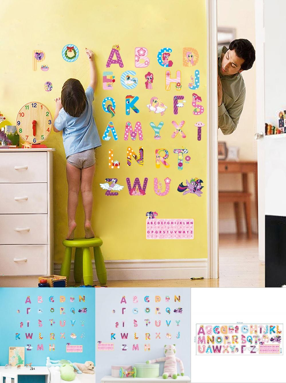 Visit to Buy] my little pony alphabet cartoon letters wall ...