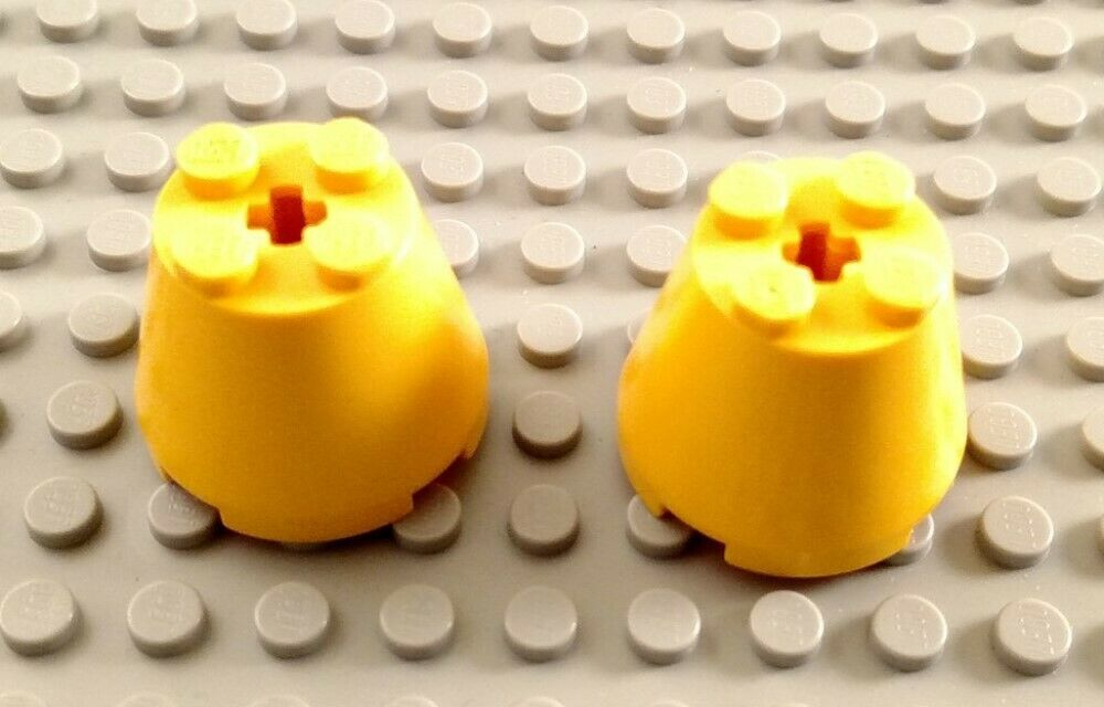LEGO Lot of 2 Yellow 3x3x2 Space Brick Cone Specialty Pieces