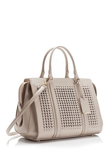 4c99de1159a 'Berlin 30-W' | Leather Woven Handbag with Detachable Shoulder Strap , Open  Grey. '