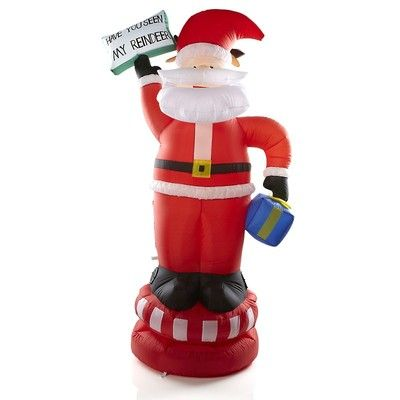 Winter Lane Animated 6\u0027 Airblown Turning Santa  Reindeer Inflatable