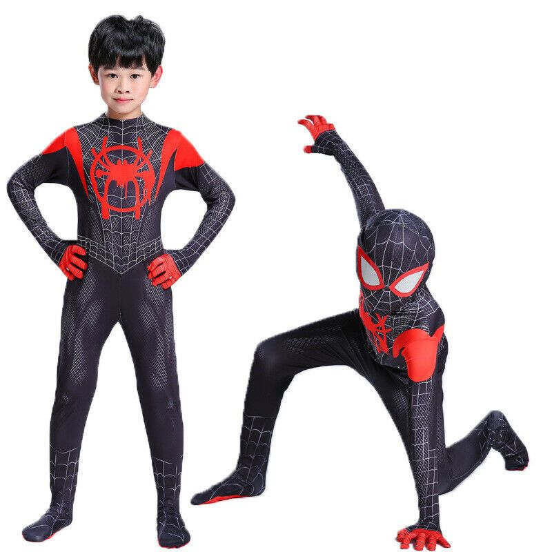 Kids SpiderMan Into the SuperHero Costume Miles Morales Cosplay Fancy Party Suit