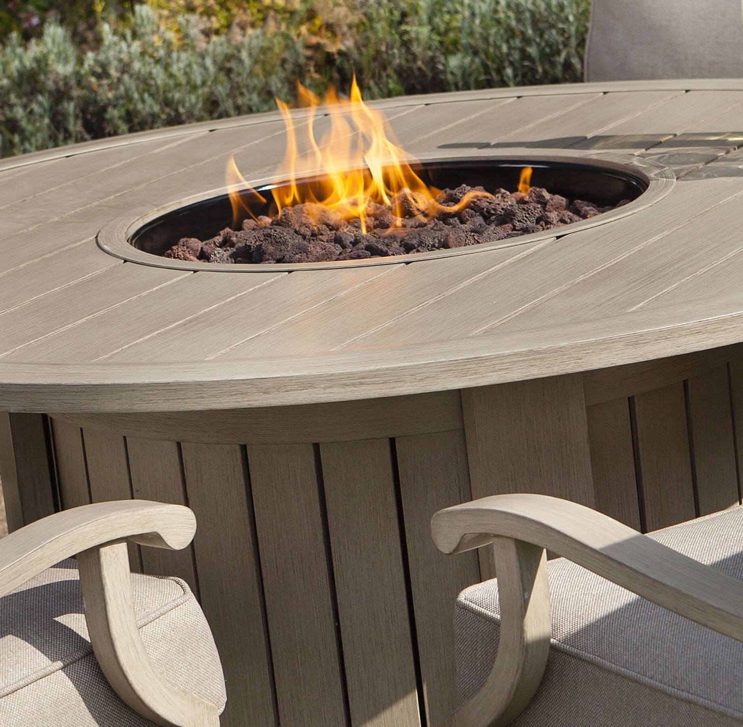 Elegant firepit with unpolished panel of oak wood using ornamental - Part Of Our Extensive Range The Portland Round 4 Seater Lounge Set With Fire Pit