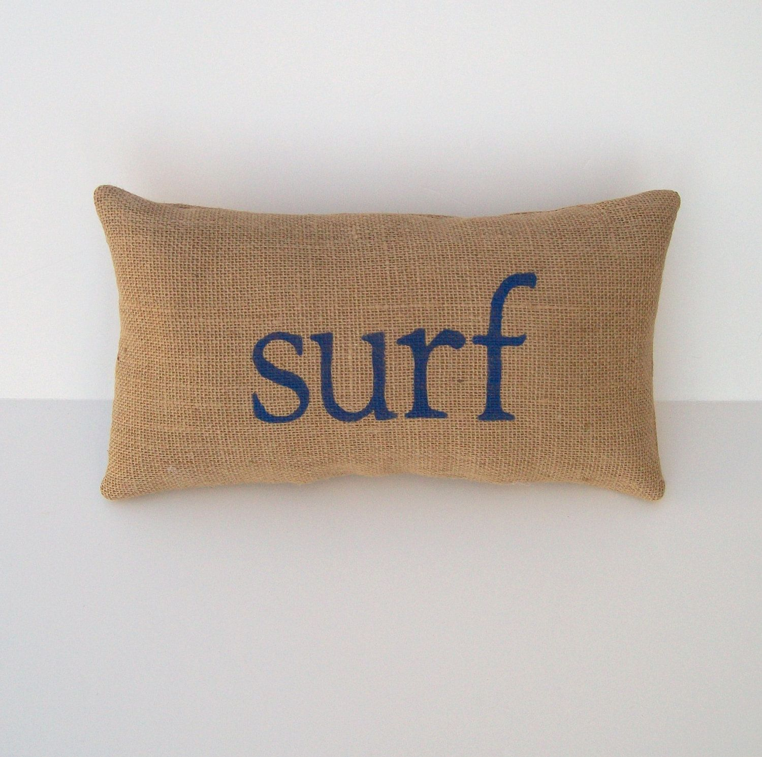 decorative burlap pillow, blue SURF word pillow, home and beach ...