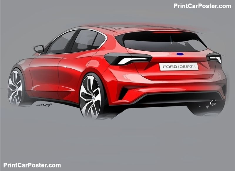 Ford Focus St Line 2019 Poster In 2020 Ford Focus Car Car