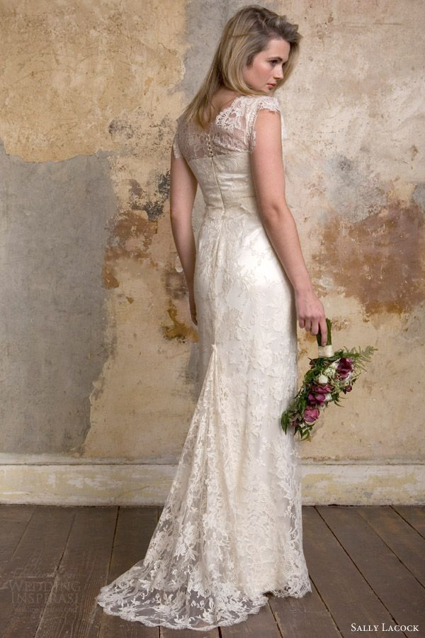 a2d71591139 sally lacock bridal 2015 emmeline 1940s lace wedding dress back view train  -- Sally Lacock Vintage-Inspired Wedding Dress Collection