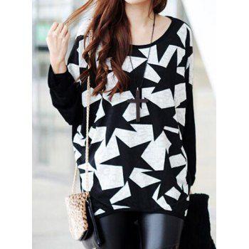 Cucharada casual de cuello de manga larga empalmado print star de la Mujer T-Shirt para Vender - La Tienda En Online IGOGO.ES
