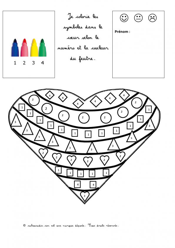 coloriage-magique-coeur-1 | Coloriage magique, Coloriage ...