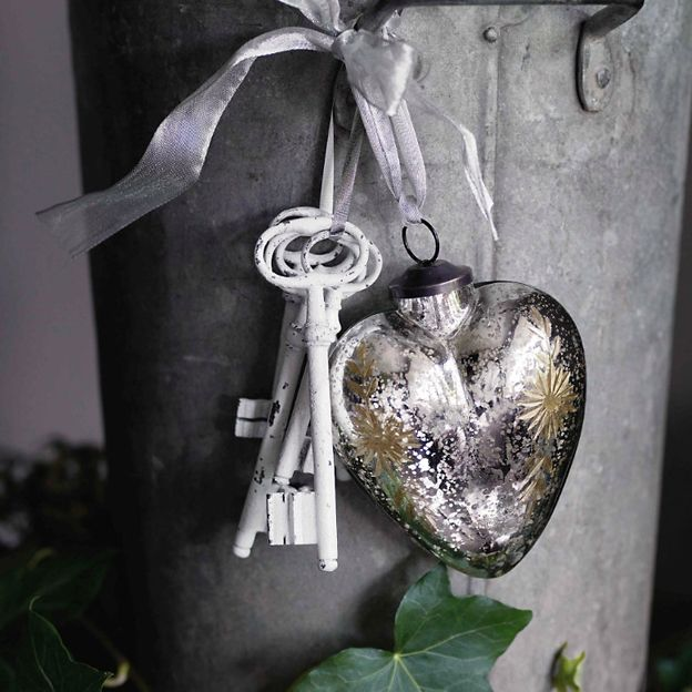 Antiqued, mercury silver heart from The White Company