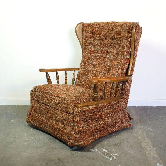 mid century recliner vintage lazboy rocker reclining wingback arm chair - Lazy Boy Rocker Recliner