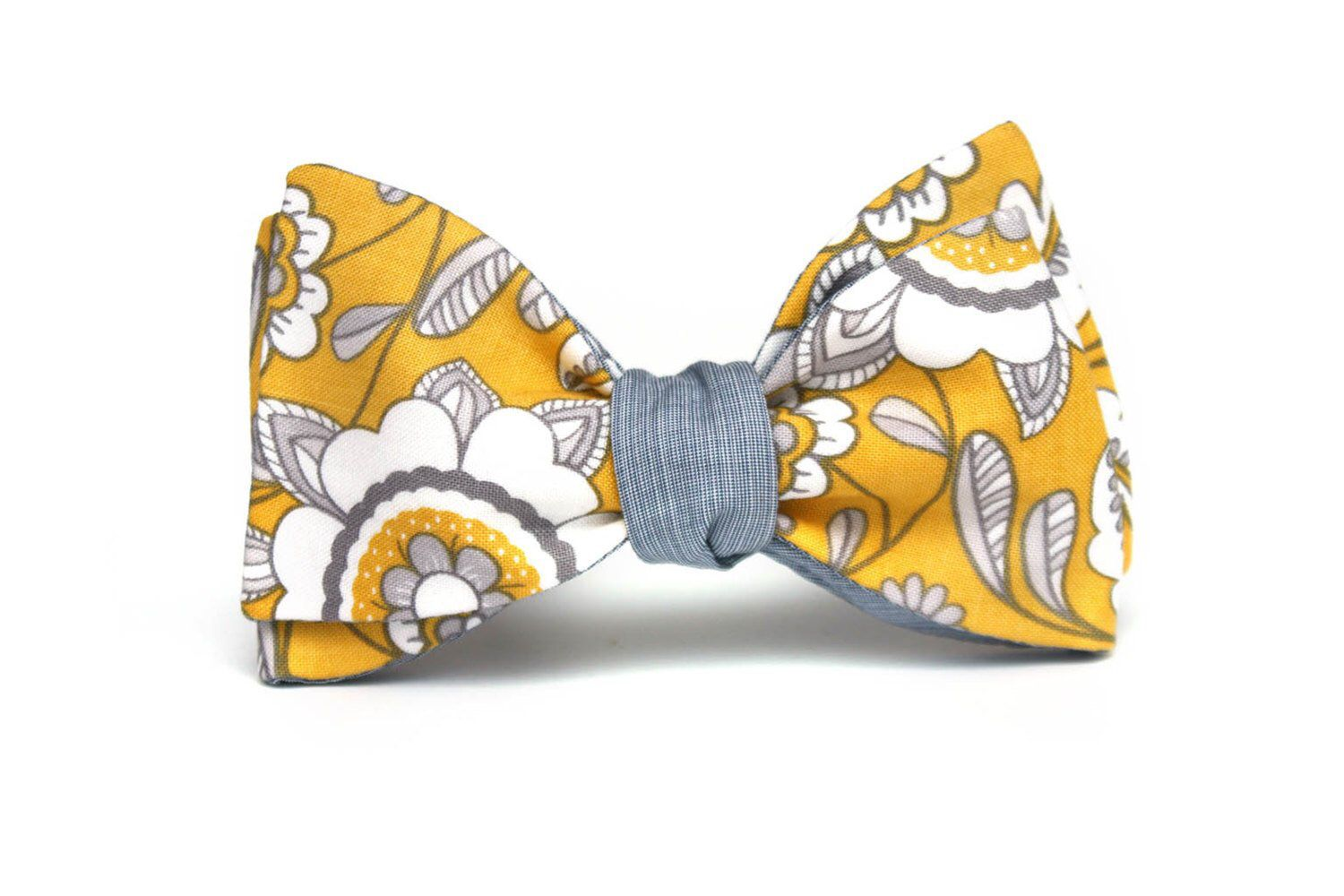 6b296640a14d Yellow floral and grey Mens bow tie Reversible Cotton men's self tied Bow  Tie Untied Bowtie CR295