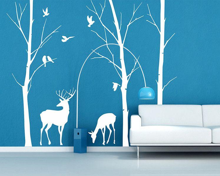 Baum+Wandtattoos+Wald+Birken+mit+Hirschwand+von+Amazingdecals+auf+ - Wandtattoos Fürs Badezimmer