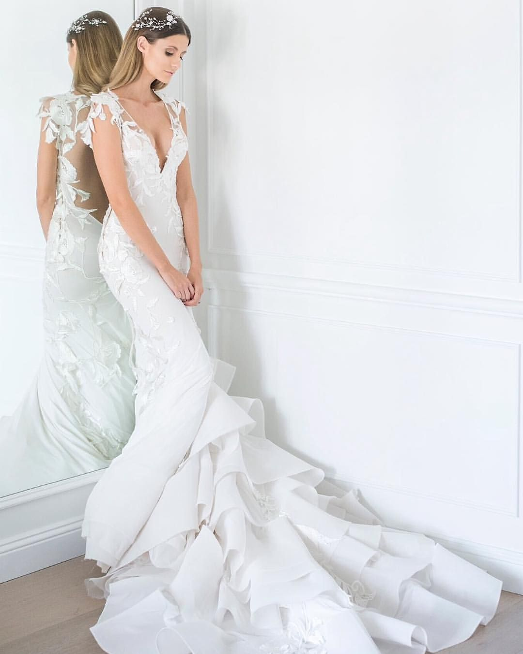 Mxm couture lace bodice with ruffled tiered train wedding gown