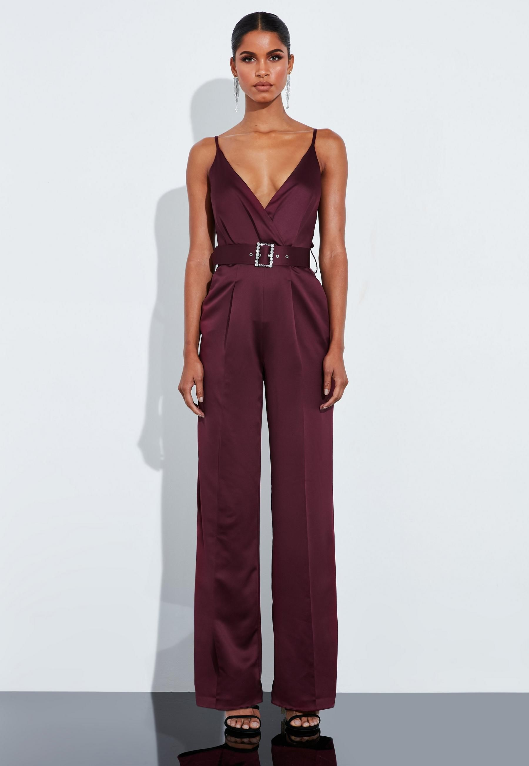 Burgundy Satin Plunge Belted Jumpsuit House of Ollichon lovesPeace  Love Burgundy Satin Plunge Belted Jumpsuit  Missguided