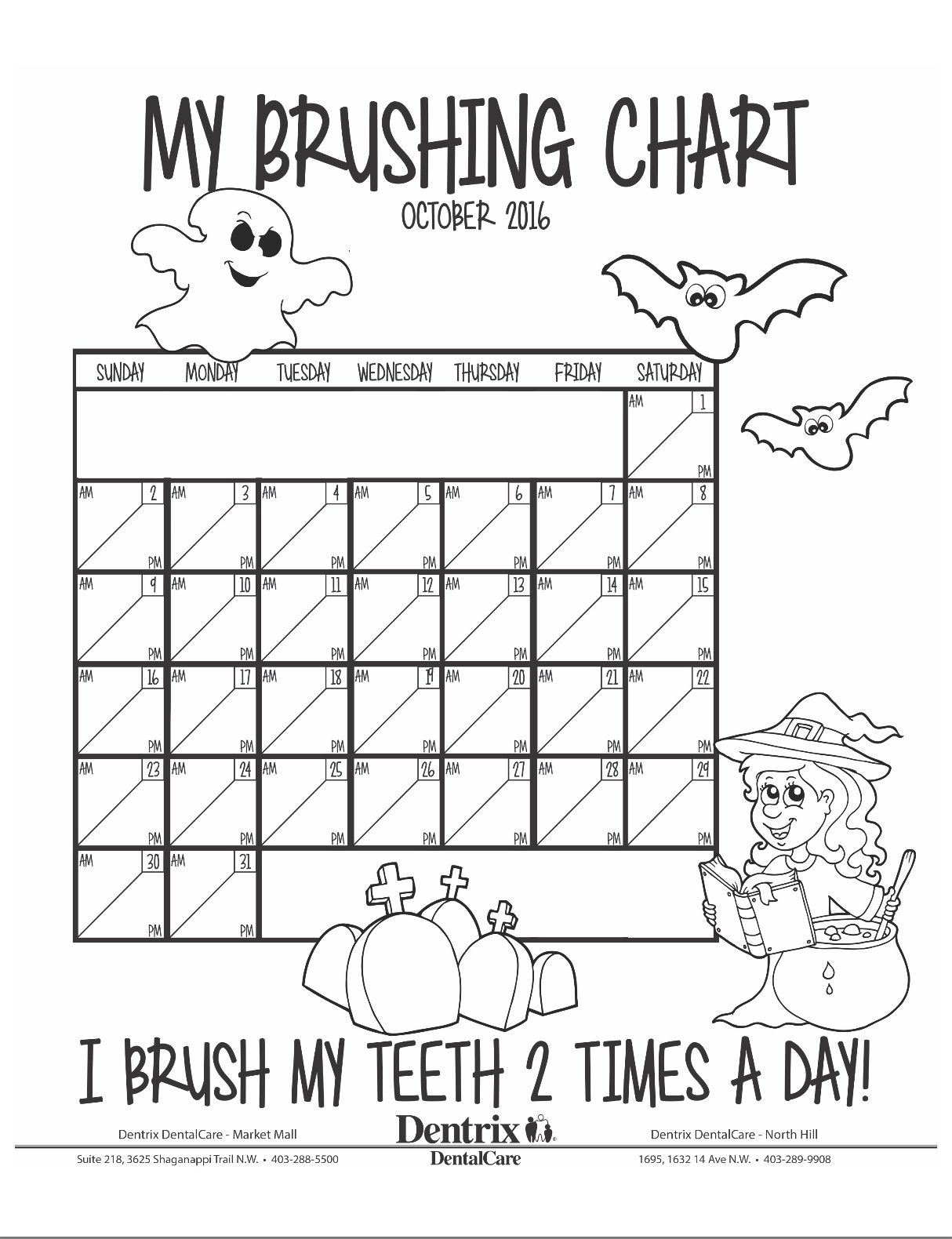 October Brushing Chart For Children