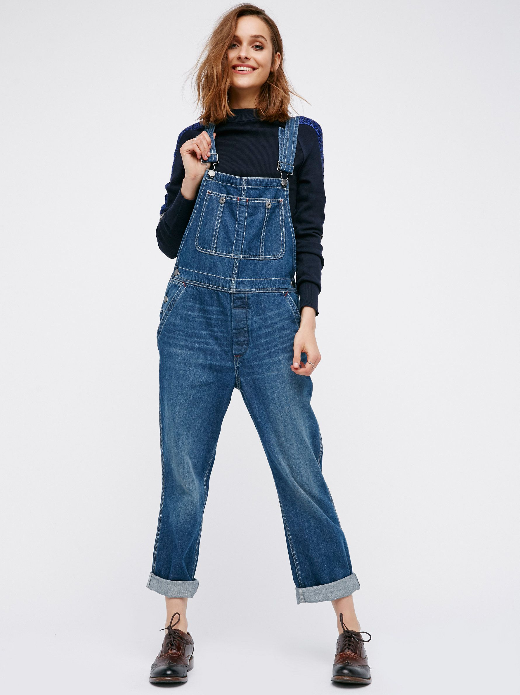 58e28e794 The Boyfriend Overall | Classic denim overalls in a slouchy boyfriend fit  with double pockets on the bib and snap closures. * Rigid, no-stretch  fabric.