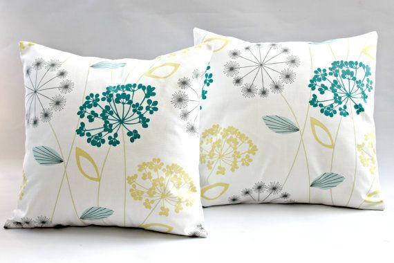 Decorative Pillows Dandelion Clock Seeds Allium Lemon Yellow