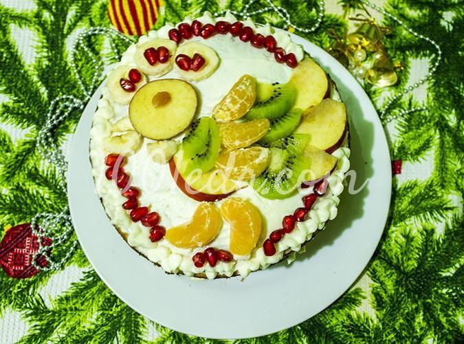 Медовый торт на сковороде с фруктами Петушок 2017: рецепт ...