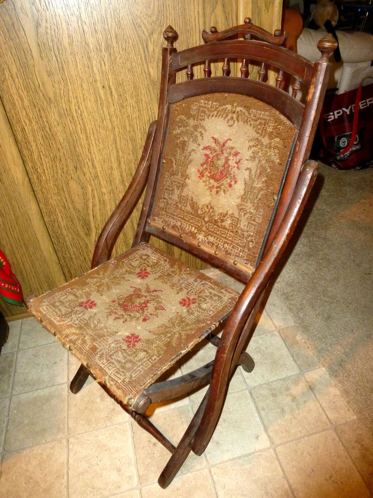 Antique Victorian Eastlake WOOD FOLDING CHAIR Tapestry ...