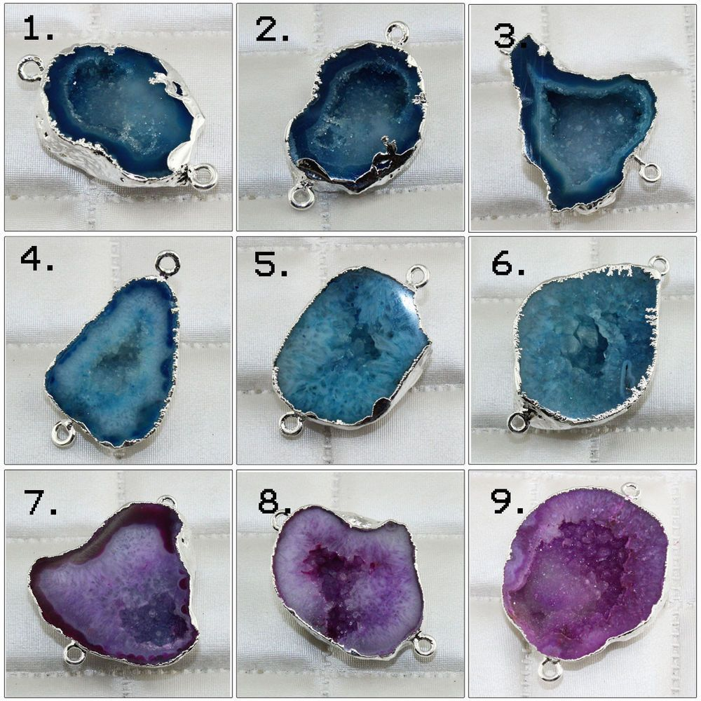 Unique Natural Geode Slice Druzy Silver Plated DIY Bracelets Pendants Connectors