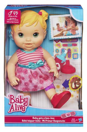 Baby Alive Baby Gets A Boo Boo Doll Blonde Walmart Ca Baby Alive Baby Alive Doll Clothes Baby Girl Toys