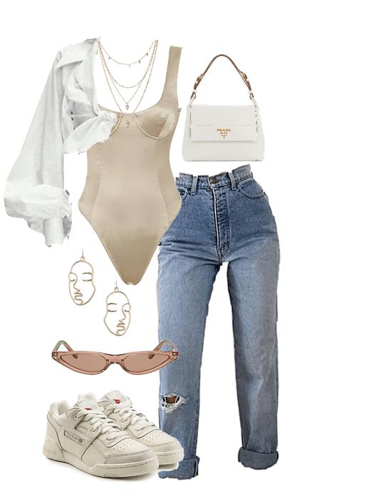 beige prada Outfit