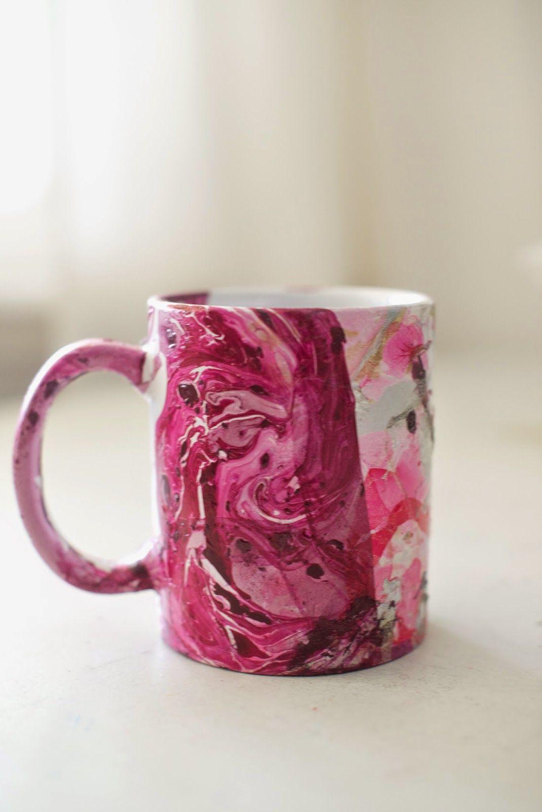 Domestic Fashionista: DIY Marbled Nail Polish Coffee Mugs   Diy ...