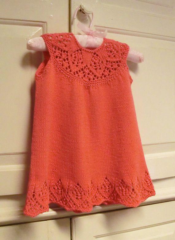 Baby Dress Knitting Pattern With Lace Yoke Meredith Baby Dress