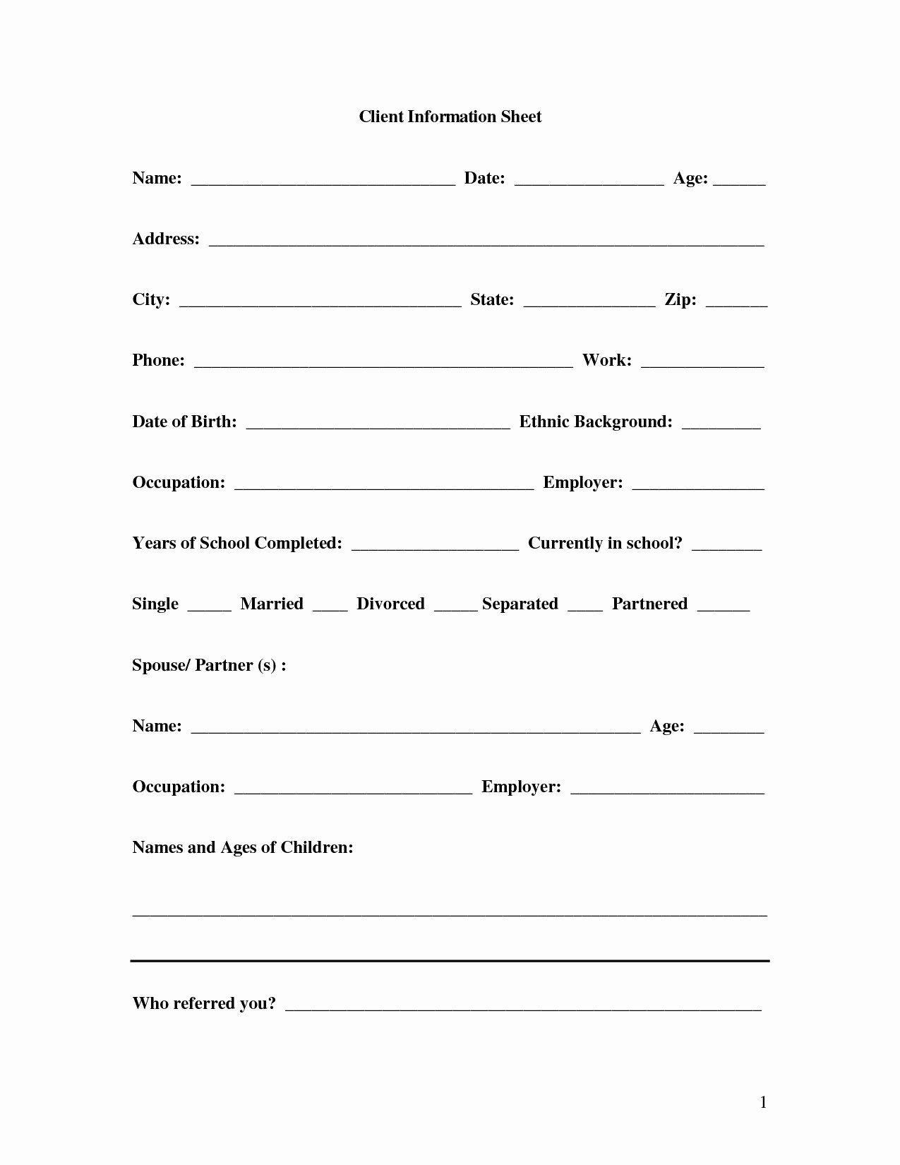 New Client form Template Elegant New Business Client