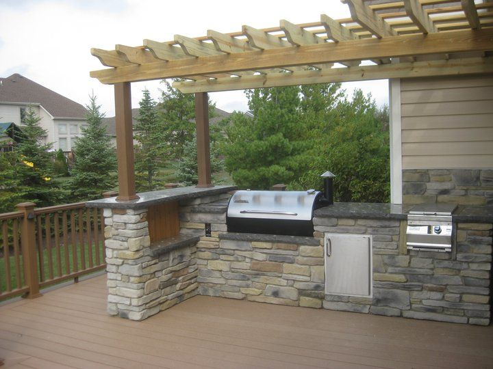 Outdoor Kitchen On A Trex Deck With Arbor