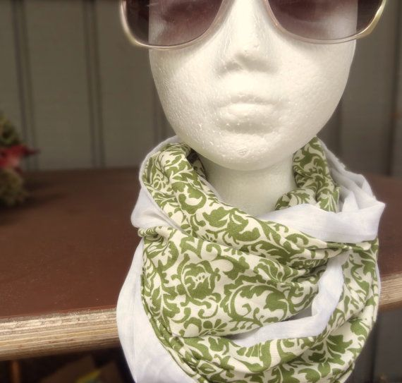 Green linen infinity scarf with flowered print by PaleDesign, $21.00