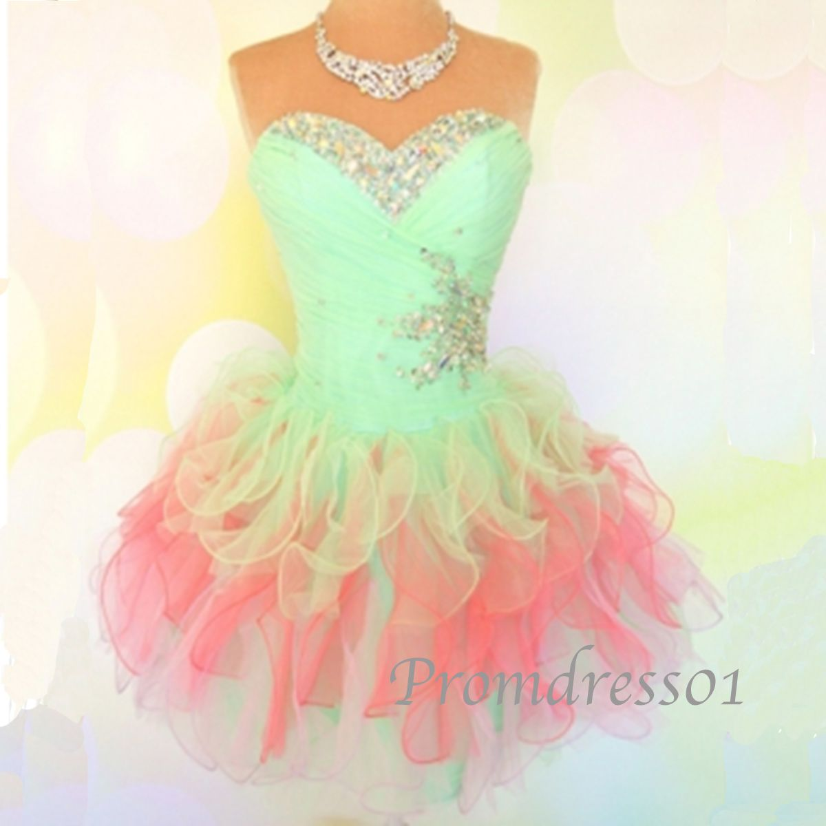 Short prom dress colorful sweetheart strapless organza beaded