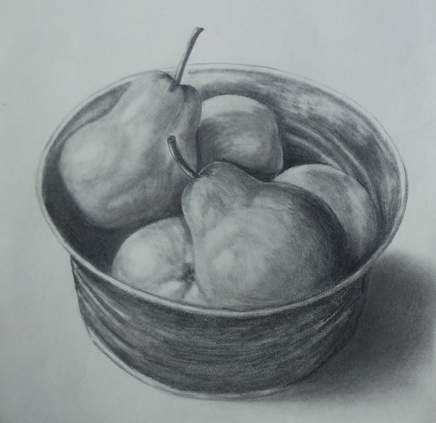 Still life pencil art ideas pears in a metal jar still life sketch