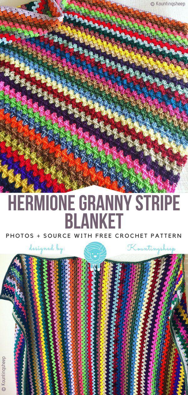 Hermione Granny Stripe Blanket Free Crochet Pattern