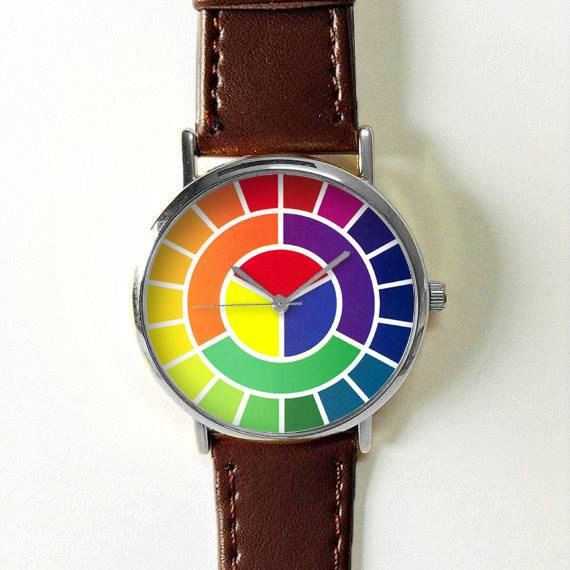 Color Wheel Watch Watches For Women Men Leather Ladies Jewelry Accessories Gift Spring Fashion Personalized Un Fashion Gifts Glasses Accessories Women Jewelry