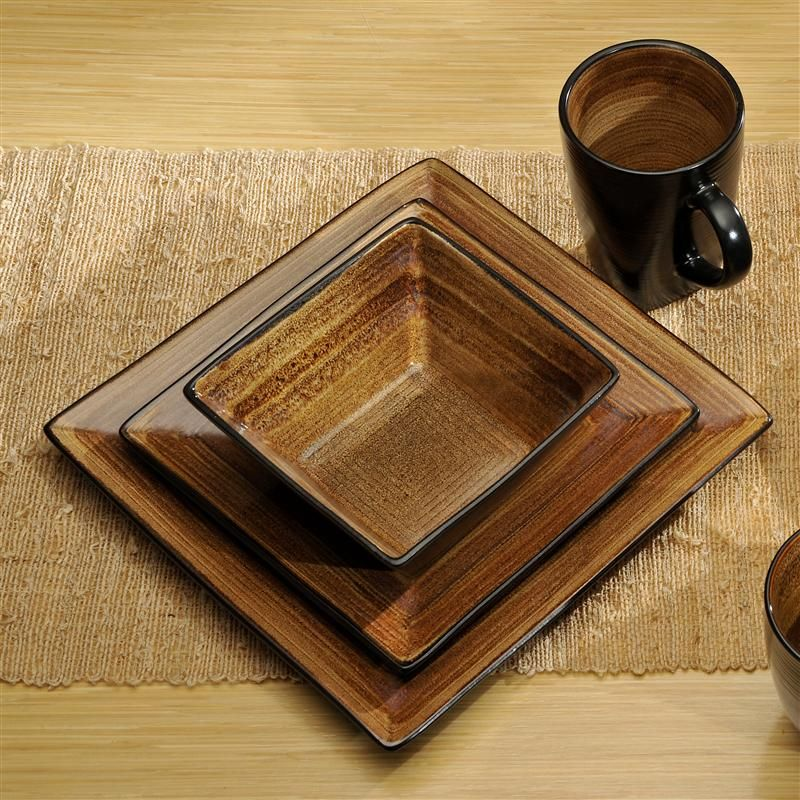ADRIATIC Du0027WARE S/16 SQ. BROWN. Stoneware Dinnerware SetsBrown DinnerwareRustic Dinnerware SetsSquare ... & ADRIATIC Du0027WARE S/16 SQ. BROWN | Dinnerware | Pinterest | Rustic ...