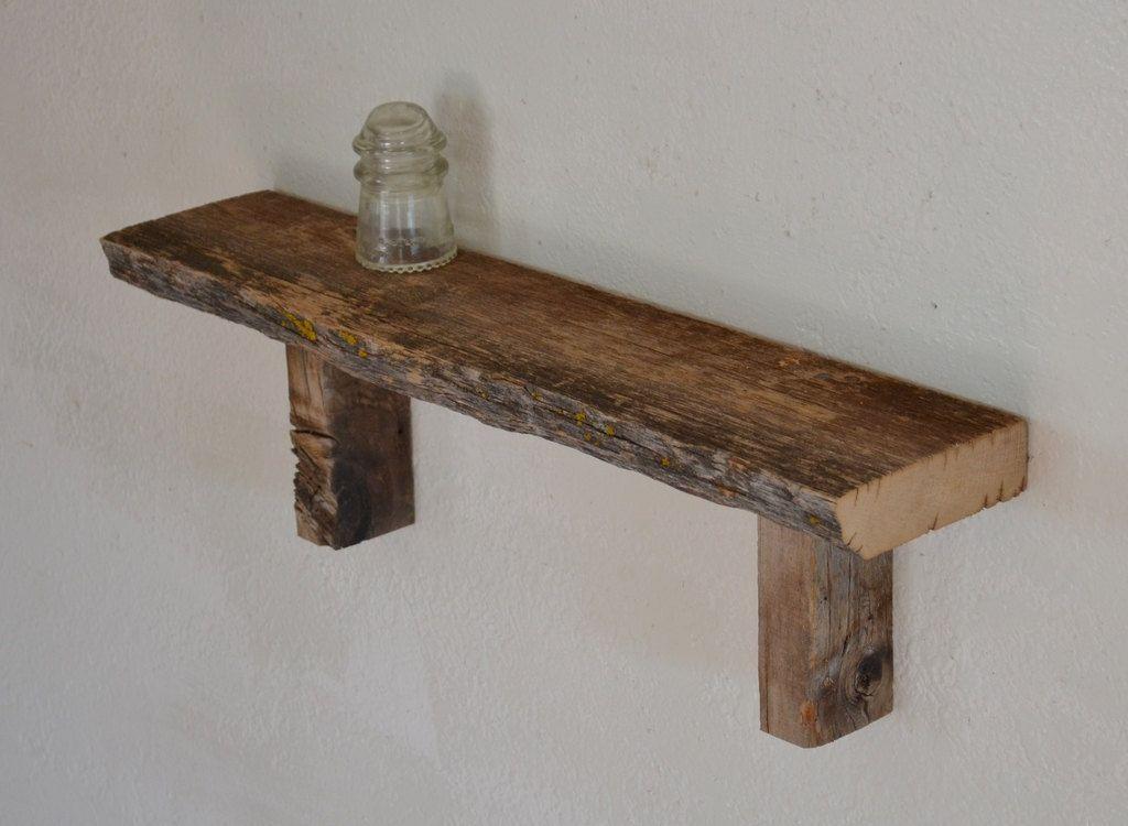 Reclaimed barn wood wall shelf interior pinterest