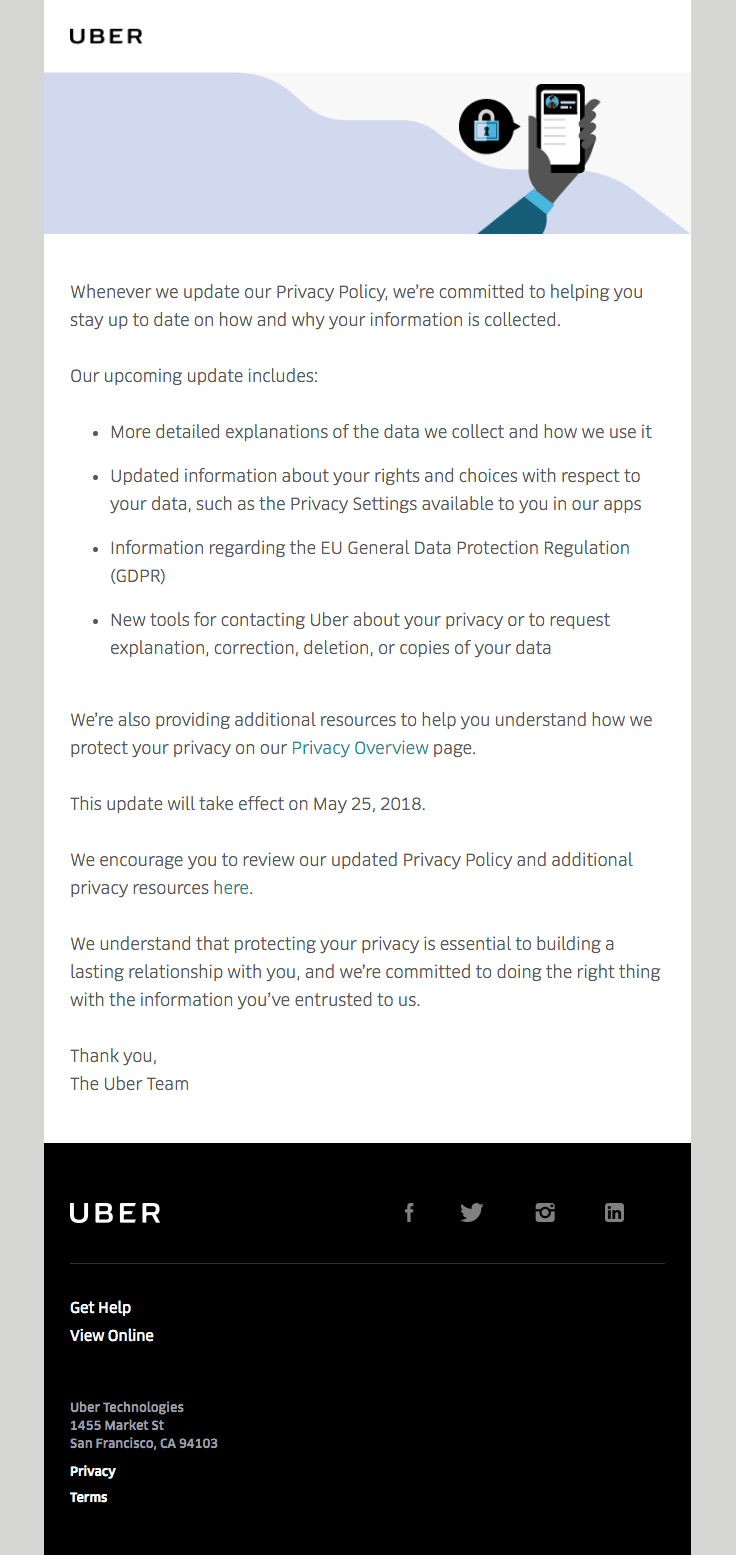Uber Sent This Email With The Subject Line Updates To Uber S Privacy Policy Read About This Email And Find More Gdpr Ema Privacy Policy Policies Best Email