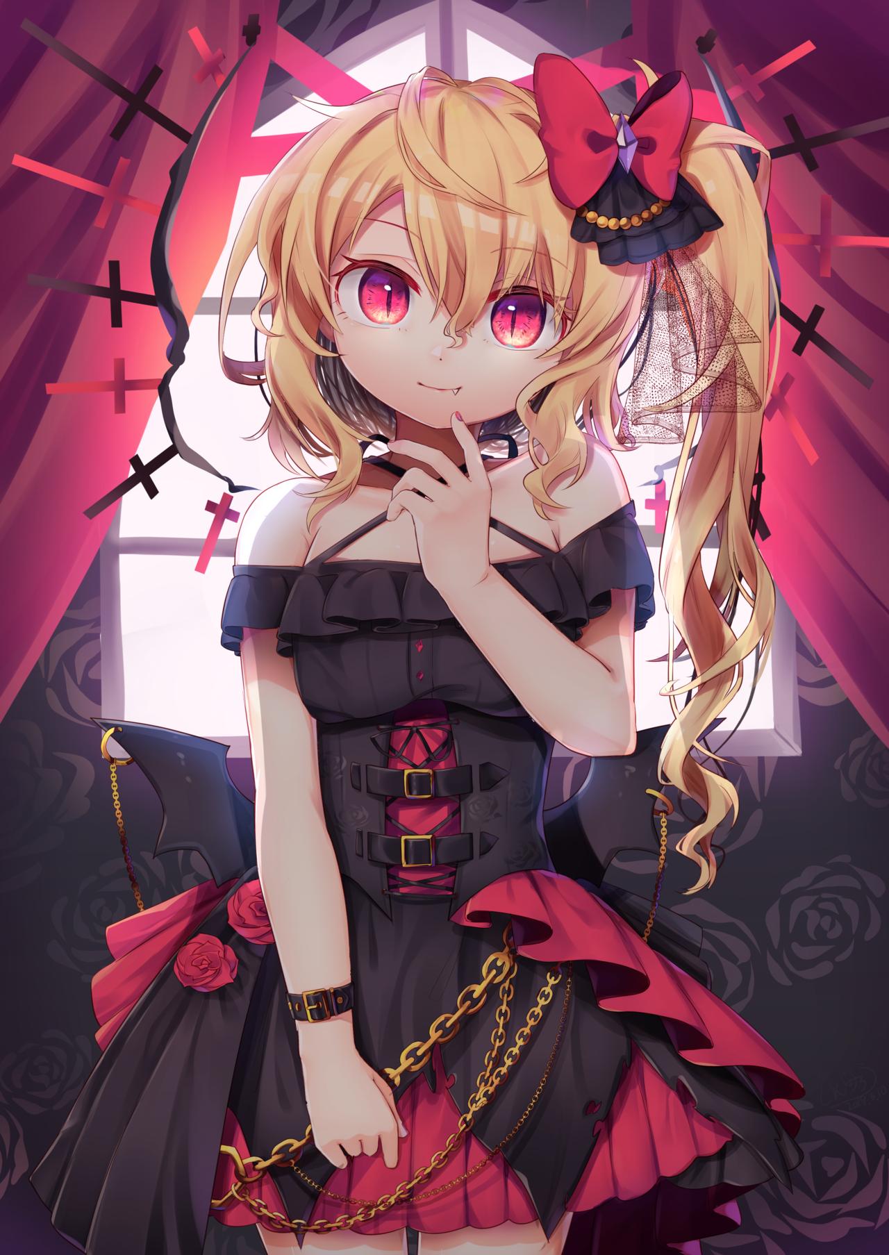 Cute vampire girl Flandre Scarlet Touhou Project fanart