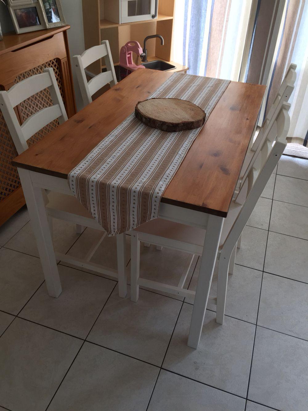 Corner Kitchen Rug Decorative Tile Backsplash Ikea Jokkmokk Dining Table And Chairs Painted In Annie ...