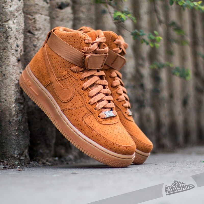 Women's Nike Wmns Air Force 1 Hi Suede Tawny Sneakers : R11t5791
