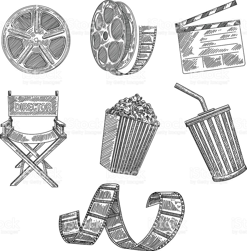 Drawing Lines Surf Movie : Line drawing of movie design elements are