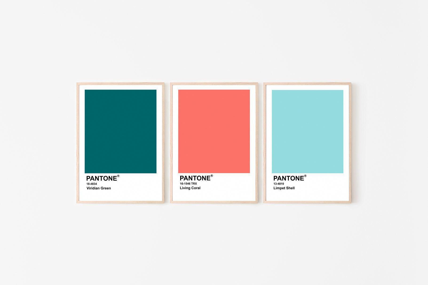 Pantone 2019 Posterset Of 3 Pantone Posters Living Coral Etsy Livingroomcolors Coral Colour Palette Coral Print Pantone Color