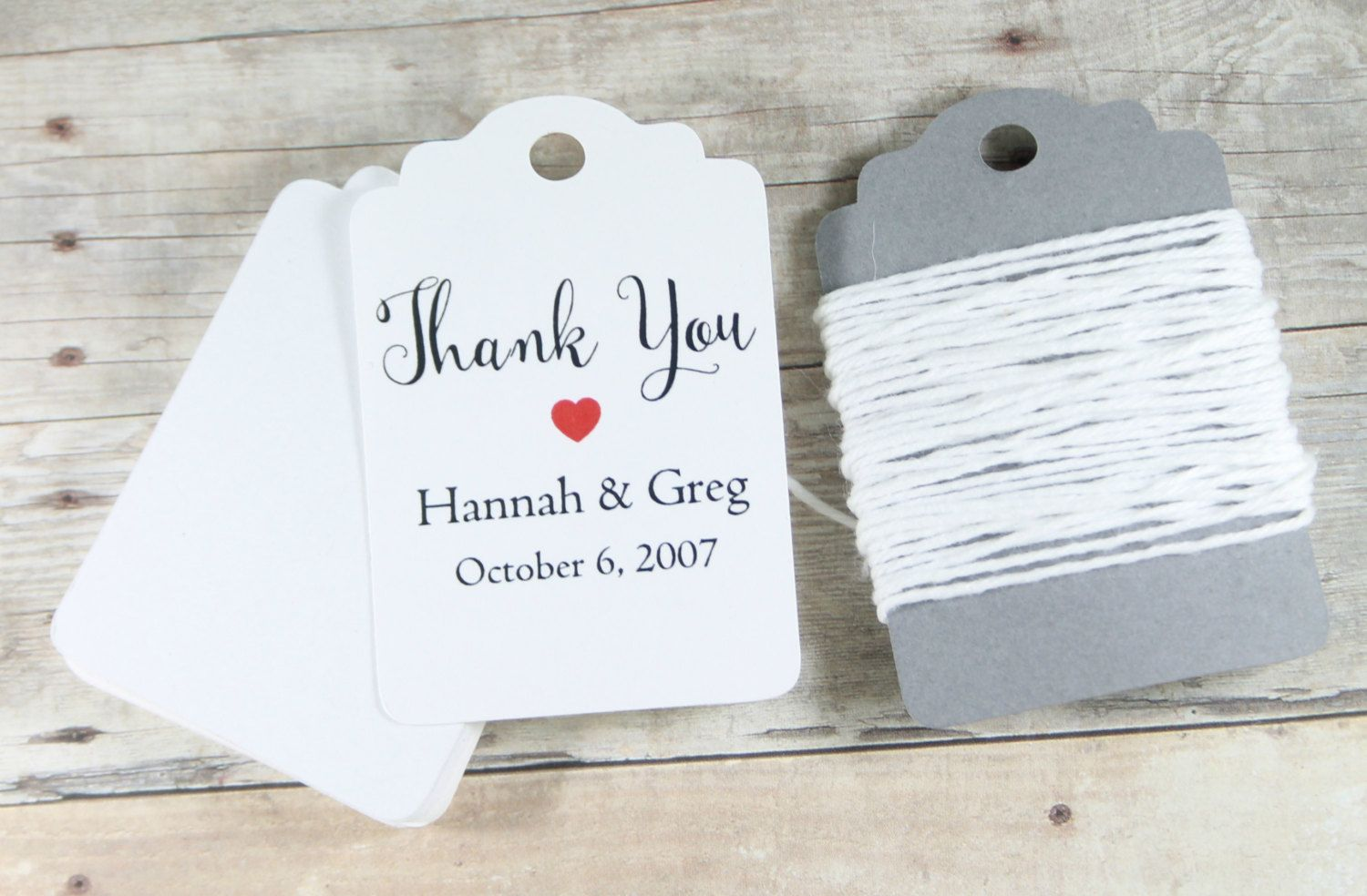 Custom Thank You Tags set of 20 - Personalized White Wedding Favor ...