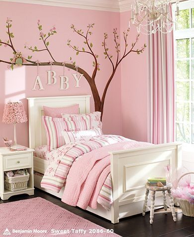 Little girls room! Love the bedding. A really nice mix of pinks and white. Not too bold. ♥ Loved and pinned by www.ductworks.ca
